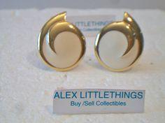 Vintage Monet Cream Swirl Button Clip On Earrings Designer