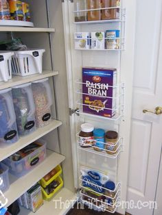 Make over a deep pantry: cut the shelves shorter and add racks to the cabinet doors!  Brilliant!