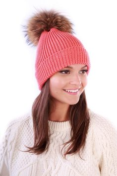 Pink and Blue Pick a Pom Merino Wool Beanie