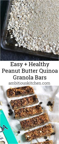 Almost no-bake quinoa granola bars with simple, natural ingredients. Only require a few ingredients and so easy to make!(Quinoa No Baking Cookies) Peanut Butter Dessert Recipes, Gluten Free Peanut Butter, Healthy Peanut Butter, Paleo Dessert, Quinoa Granola Bars, Quinoa Oatmeal, No Bake Granola Bars, Healthy Treats, Healthy Desserts