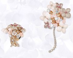 From left to right: Ring in pink gold, pink & angel-skin opal, pink tourmalines, pink sapphire, diamonds, set with a cushion-cut diamond http://www.chaumet.com/high-jewellery-chaumet-hortensia-ring-082314 Brooch in pink gold, pink & angel-skin opal, pink tourmalines, pink sapphire, diamonds http://www.chaumet.com/high-jewellery-chaumet-hortensia-brooch-082308-000 — at Place Vendôme.
