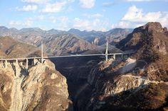 Baluarte Bridge in Mexic, highest suspension bridge in the world, connecting Sinaloa with Durango and Mazatlan. In China, Tour Eiffel, Scary Bridges, Cable Stayed Bridge, Durango Mexico, High Bridge, Living In Mexico, Suspension Bridge, Vacation Places