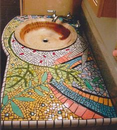 Handpainted Tile Mosaic Counter bathroom counter mosaic, hand painted tiles – Haley Arts - for backsplash Mosaic Art, Mosaic Glass, Mosaic Tiles, Mosaic Bathroom, Tiling, Bathroom Pink, Stained Glass, Bathroom Colors, Mosaic Backsplash
