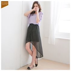 Korean Fashion Irregular Hem Dots Dress