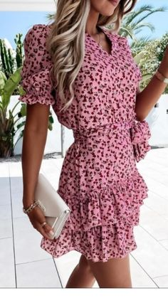 Pink dress, pink mini dress, summer mini dress, pink frill dress, frill detail dress, pink summer dress, pink midi summer dress Frill Dress, Wrap Dress, Short Sleeves, Short Sleeve Dresses, Dress First, Online Boutiques, No Frills, Fashion Online, Size 12