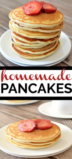 This light and fluffy homemade pancake recipe is perfect for breakfast! Made wit… This light and fluffy homemade pancake recipe is perfect for breakfast! Made with pantry staples this pancake recipe is definitely going to be a family favorite. Homemade Pancakes Fluffy, Breakfast Recipes, Pancake Recipes, Best Dishes, Great Recipes, Recipe Ideas, Easy Meals, Food And Drink, Yummy Food