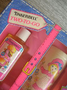 vintage tinkerbell cosmetics omg had these as a kid they smelled so good to me then
