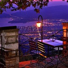 Overlooking the city of Volos from Pelion Mountain, Greece