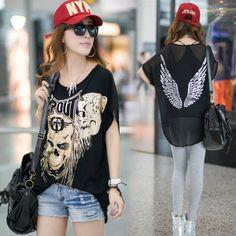 Fashion street style loose plus size skull print back metal patchwork chiffon modal cotton t-shirt love love