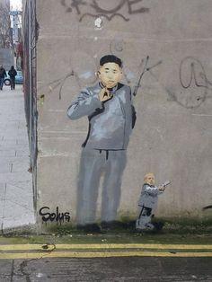 Kim Jong Un & Minime, In Smithfield, Ireland. #streetart