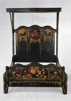 Painted bedstead with canopy about 1855 By Heywood Bro. & Company, Painted by Thomas Hill, Painted by Edward. Victorian Bed Frames, Victorian Bedroom, Victorian Cottage, Victorian Furniture, Victorian Gothic, Victorian Homes, Antique Furniture, Art Furniture, Wicker Furniture