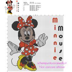 Disney Minnie con vestito a pois rosso schema punto croce grande 149 x 149 crocette 7 colori DMC