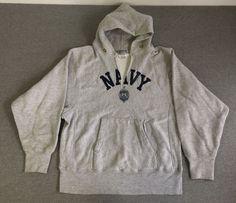 CHAMPION REVERSE WEAVE Sweatshirt 80s Vtg NAVY Warmup Hoodie Hooded Men's Medium #Champion #Hoodie