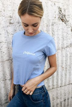 California Tee & Blue High Wasted Jeans.
