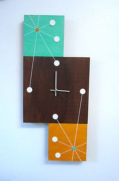 Mid Century Modern Retro Style Starburst Clock by Tiki Queen