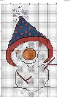 Kreuzstich смешной снеговик вышивка новый год рождество