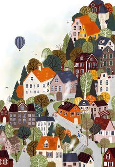 Forrest City Clear Acrylic Organizer/serving Tray by Maja Tomljanovic - Medium 15 x City Framed Art, Framed Art Prints, Love Drawings, Art Drawings, Naive Art, City Art, Watercolor Illustration, City Illustration, Cute Wallpapers