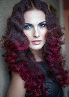 Super cool dark brown to red ombré, but these finger waves and curls are the best part of this style!