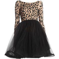 Alice + Olivia Bergen Mini A-line Skirt Dress ($597) ❤ liked on Polyvore featuring dresses, vestidos, short dresses, платья, long sleeve a line dress, long sleeve cocktail dresses, beaded cocktail dress and long-sleeve mini dress