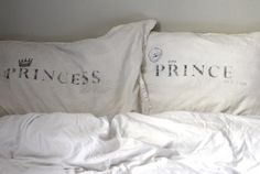 prince and princess pillow cases! Perfect gift for their co-sleep bed Prince And Princess, My Prince, Cute Pillows, Bed Pillows, Pillow Pets, Always Kiss Me Goodnight, Couple Bedroom, Pillow Talk, My New Room