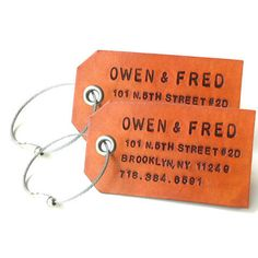 So cool!   Owen & Fred Leather Luggage Tags.