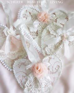 Lace White Heart Ornaments Rose Shabby Romantic by ArtbyScherer
