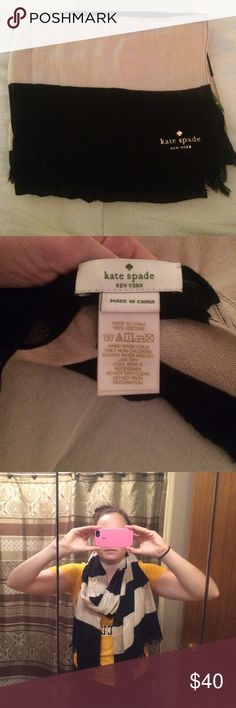 Kate Spade Scarf Black and Cream Kate Spade Scarf! It's super cute with color block stripes! Has the Kate Spade Logo on on end! It's super soft! Only wore it to a interview! Kate Spade Accessories Scarves & Wraps