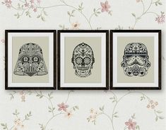 Set, Star Wars Cross Stitch Pattern, Darth Vader, Storm Trooper, C3PO StarWars Sugar Skull Counted Cross Stitch Chart, PDF Instant Download
