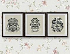 Set, Star Wars Cross Stitch Pattern, Darth Vader, Storm Trooper, C3PO StarWars Sugar Skull Counted Cross Stitch Chart, PDF Instant Download