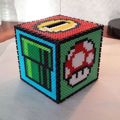 Super Mario coin box perler beads by shawnawhite18