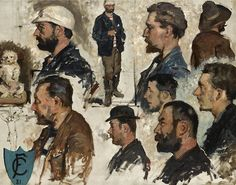 Fernand Cormon (French, 1845-1924) -   Studies of male heads, oil on canvas, 80,5 x 100 cm. 1881.