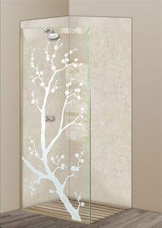 Shower Divider Panel featuring the Cherry Blossom design in the 1D Positive Clear effect by Sans Soucie Art Glass. Design elements are sandblast etched on the top surface of smooth, clear glass, and are solid white shapes.  This effect is considered semi-private, as the clear glass background area of the glass, will vary by design.