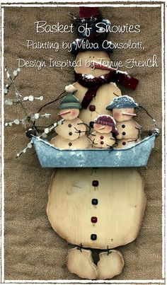 Basket of Snowies by Milvi Consolati, email pattern packet, by PaintingWithFriends on Etsy