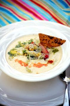 Creating Post it Notes: .roasted corn and avocado soup w/ crab salad.