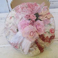 Romantic vintage hat box pink rose pattern w/ by AnitaSperoDesign