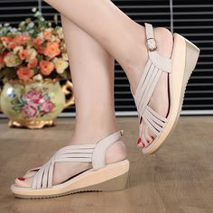 32c6c2daa0a9 Genuine Leather Hollow Out Shoe Casual Comfy Wedge Sandals