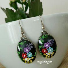 Polymerclay,earring,handmade,flowers, Polimerkil çiçekli küpe,elyapimi hediye