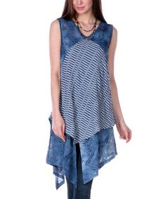 Love this Blue Stripe Crochet Tunic by Lily on #zulily! #zulilyfinds