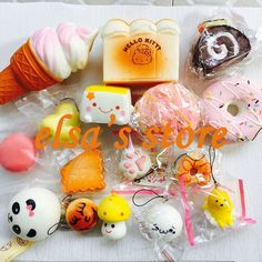 squishies wholesale 10pcs mixed kawaii hello kitty donut squishy charm strap for mobile phone slow rise squishy soft hanpillow