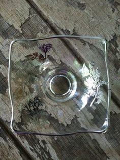 Vintage Silver Overlay Flanders Poppy Flower fluted Rim Serving Bowl