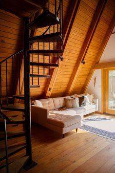 Desanka's Visionary Lux Lodge @lux_eros www.lux-eros.com #luxlodge #luxeros Aframe, bohemian decor, wood, spiral stairs, midcentury decor
