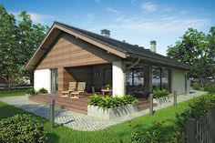 Proiect casa parter - Smart Home Concept Bungalow House Plans, Tiny House Plans, Plan Chalet, Compact House, Lakeside Living, Small Cottages, Family House Plans, Green Rooms, Design Case