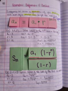 Geometric Sequences and Series Foldables