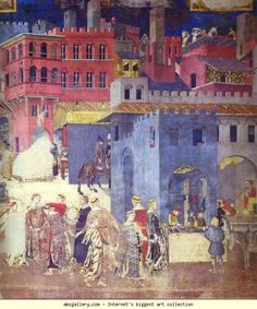 Ambrogio Lorenzetti. Allegory of Good Government. Detail. 1337-40. Fresco. Sala dei Nove, Palazzo Publico, Siena, Italy.