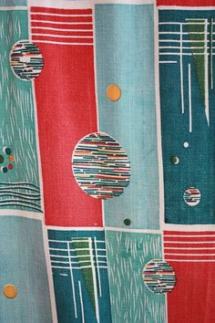 Atomic print Fabric Mid Century Art, Mid Century Decor, Vintage Textiles, Vintage Prints, Textile Patterns, Textile Design, Atomic Decor, Century Textiles, Retro Fabric