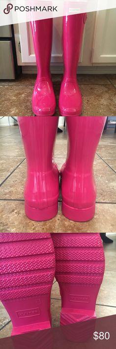 NWOT Tall pink glossy hunter boots Brand new tall pink gloss original hunter boots women's size 10. No box. Hunter Shoes Winter & Rain Boots
