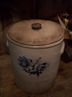 Early Country Antiques ~ Crock with beautiful wood lid.