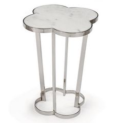 Lansbury Hollywood Marble Top Silver Metal Clover End Table Look for Less