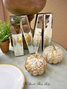 DIY Rhinestone, Sequin & Pearl Pumpkins