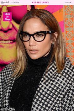 Jennifer Lopez made glasses a red carpet worthy accessory in NYC on October 19, when she wore her cat frame glasses with contoured skin, a nude lip and neutral eye makeup. Get expert tips for wearing makeup with glasses like Jennifer Lopez.